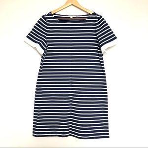Tory burch striped mini dress with ruffles